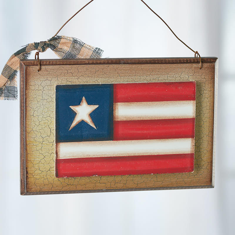 Primitive American Flag Plaque Sign
