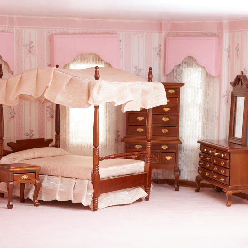 Dollhouse Miniature Canopy Bedroom Set