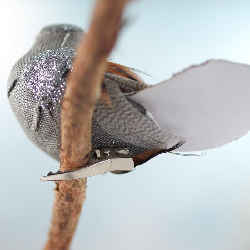 Silver glittered artificial bird birds butterflies for Fake birds for crafts