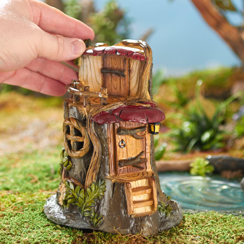 Gnome Tree Stump Home: Fairy Garden Tree Stump House