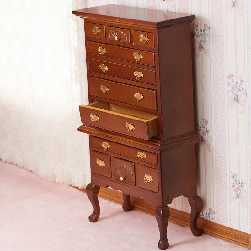 Dollhouse Miniature Queen Anne Victorian Highboy Dresser 1:12 Scale Furniture
