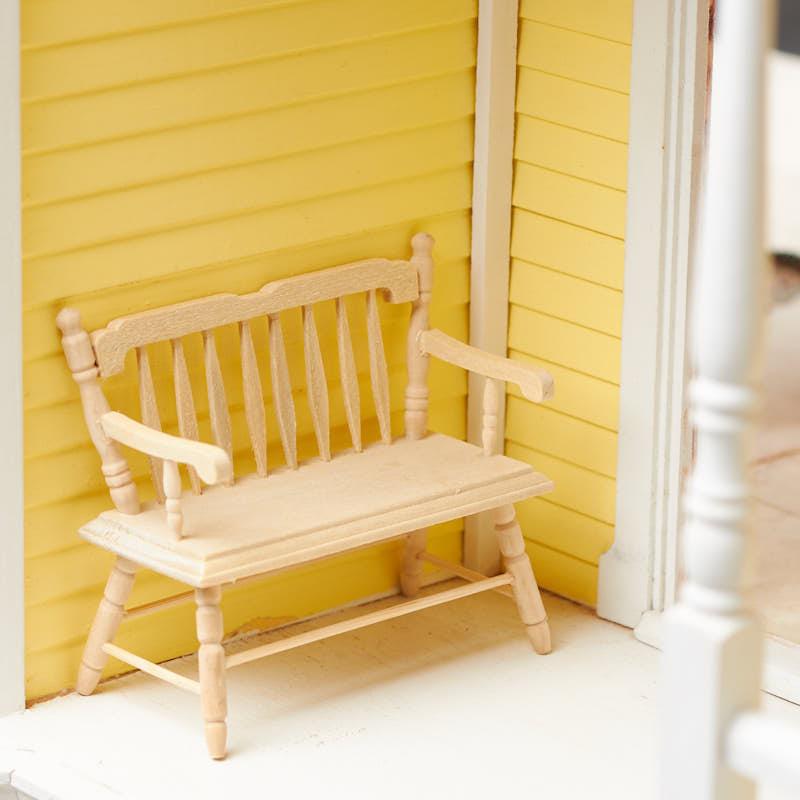 Stupendous Dollhouse Miniature Unfinished Wood Deacons Bench Inzonedesignstudio Interior Chair Design Inzonedesignstudiocom