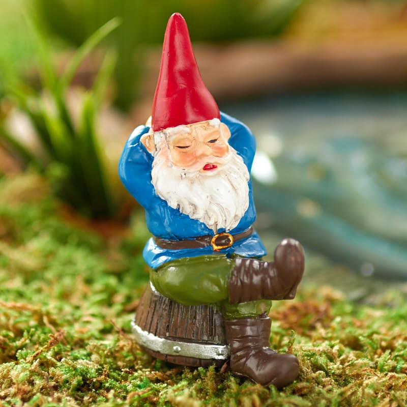 Gnome In Garden: Miniature Napping Garden Gnome