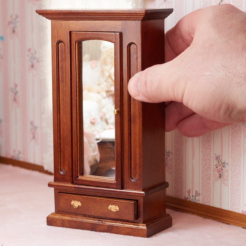 Dollhouse miniature walnut wood armoire bedroom