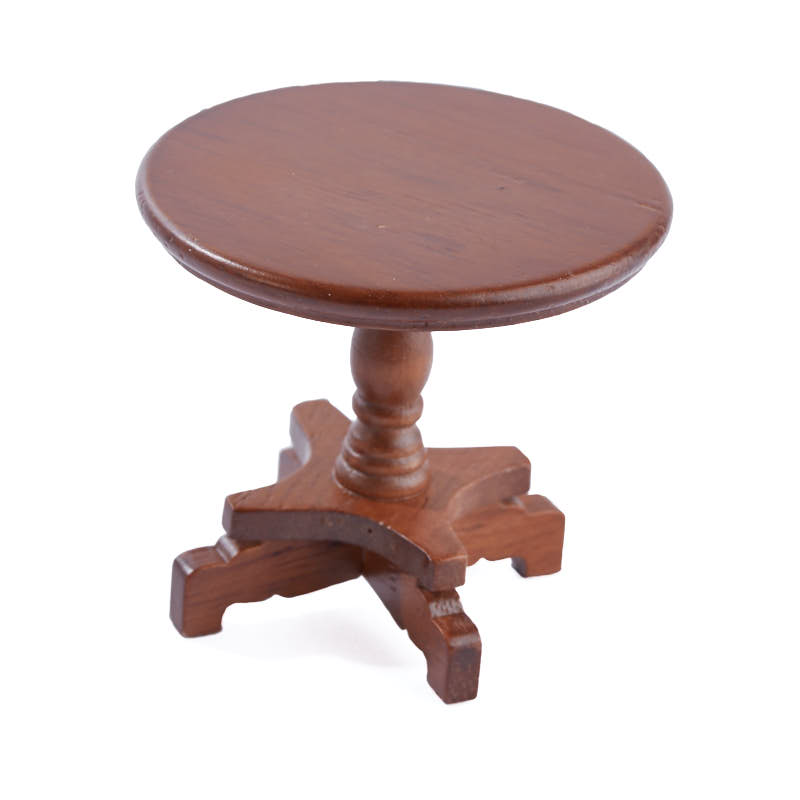 Dolls House Walnut Queen Ann Side End Table Miniature Living Room Furniture
