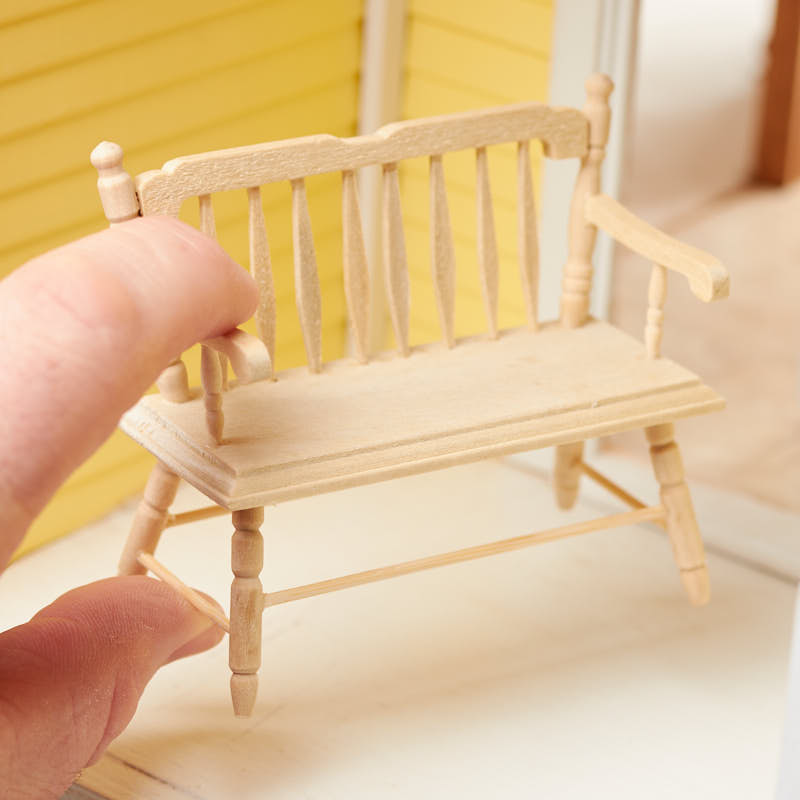 Dollhouse Miniature Unfinished Wood Deacons Bench Miniature Furniture Dollhouse Miniatures