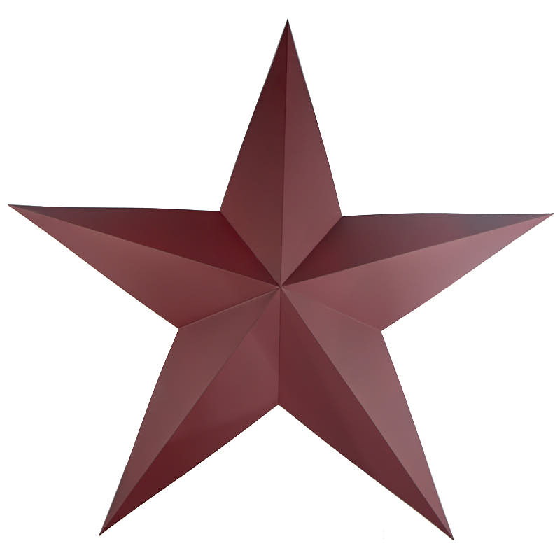 Large burgundy dimensional barn star americana decor for Barn star decorations home