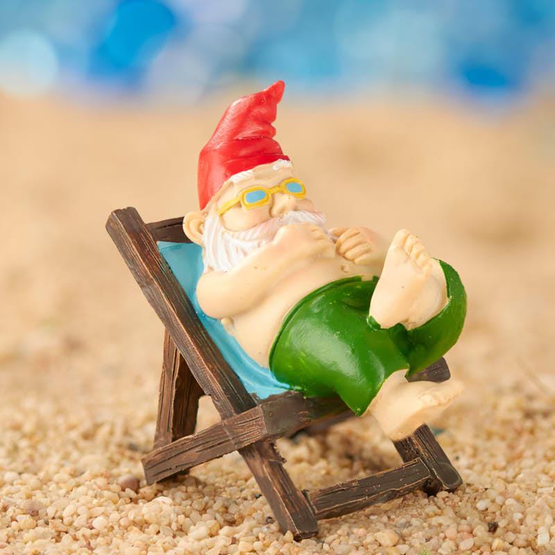 Gnome In Garden: Miniature Sunning Beach Gnome