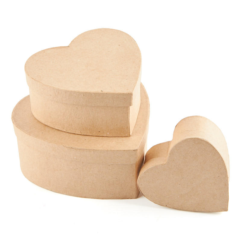 Factory Direct Craft Package of 4 Paper Mache Heart Boxes Ready to Personalize and Display for Crafting Projects