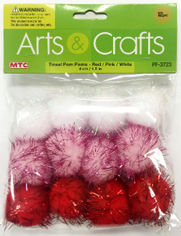 Red pink and white tinsel craft pom poms craft pom poms for Tinsel craft pom poms