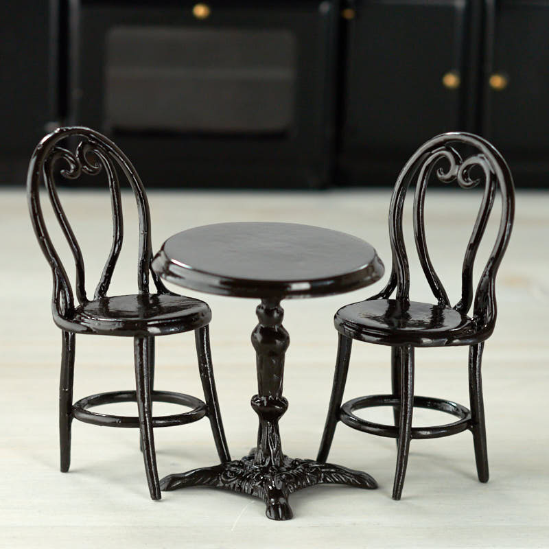 Dollhouse Miniature Cafe Table And Chair Set