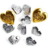Metallic Heart Buttons