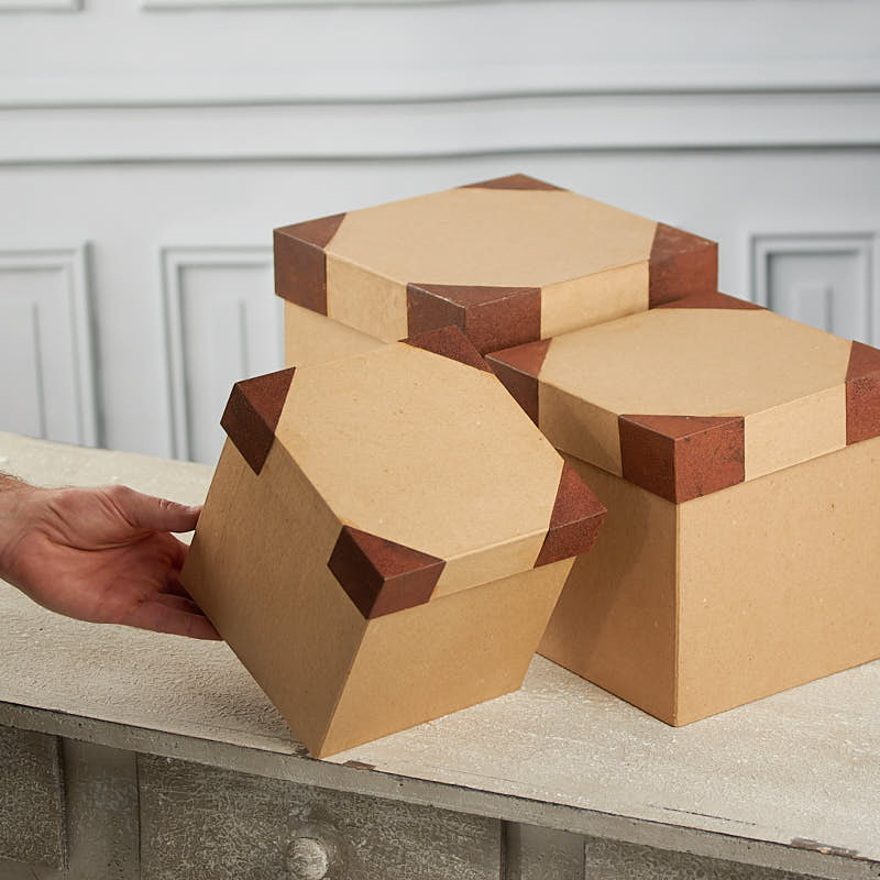 Large paper mache and rusty tin square box set paper for Craft paper mache boxes