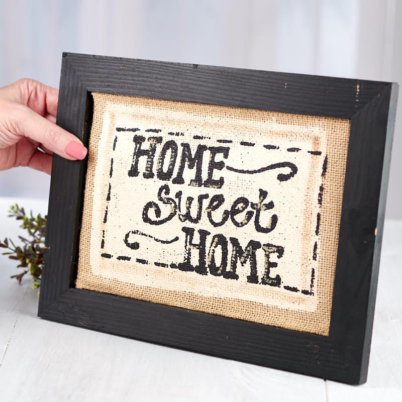 "Primitive ""Home Sweet Home"" Burlap Canvas Sign"
