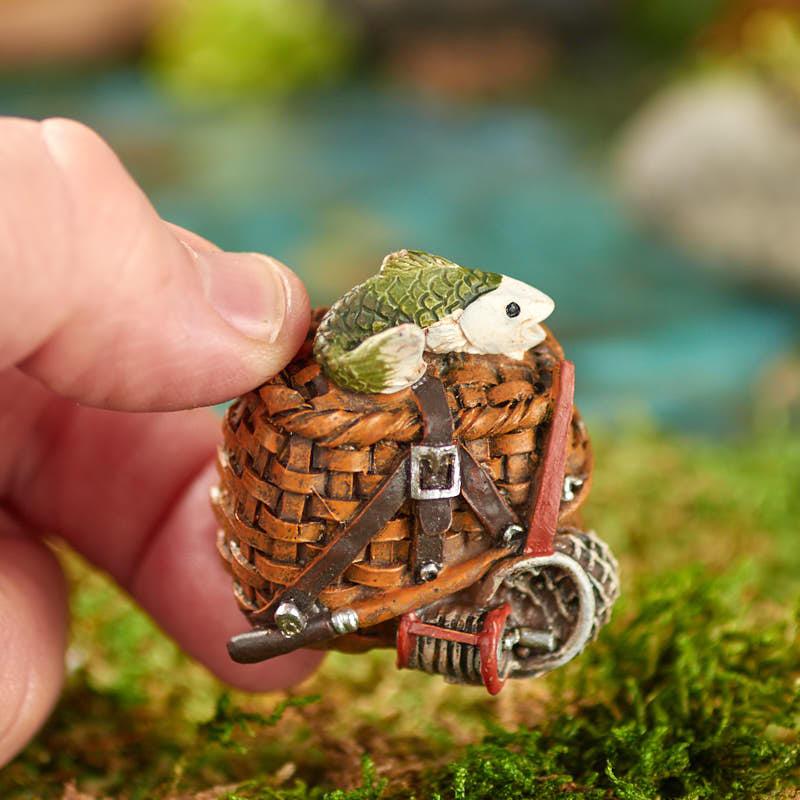Miniature Fishing Creel Basket Fairy Garden Miniatures