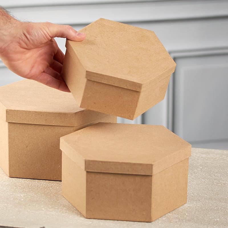 Paper mache hexagon box set paper mache basic craft for Perfect paper mache