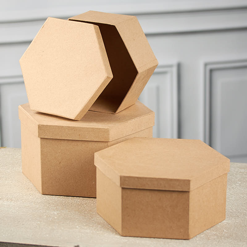 Paper mache hexagon box set paper mache basic craft for Craft paper mache boxes