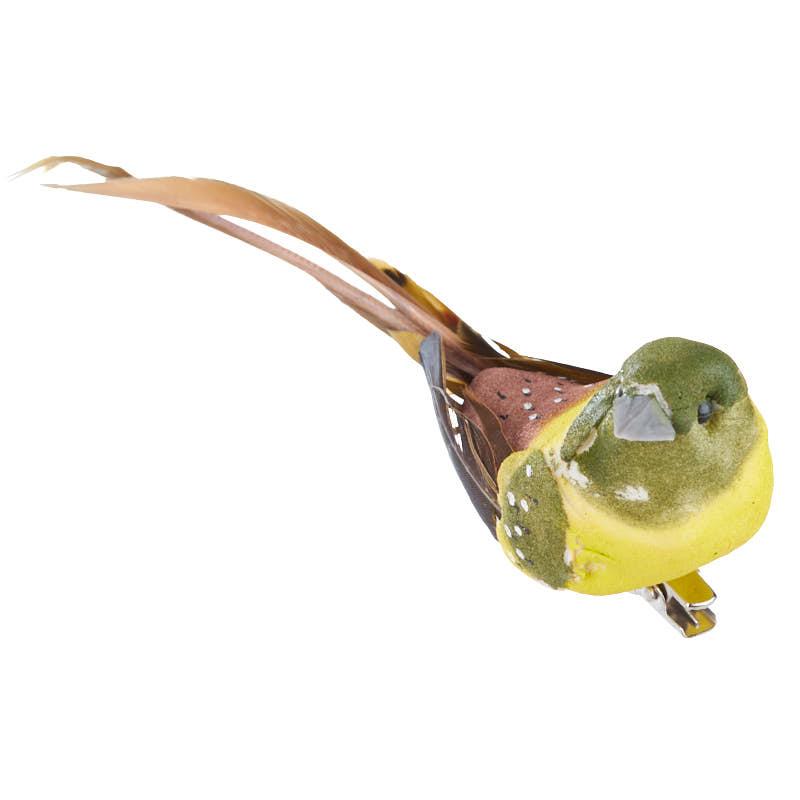 Yellow and green artificial bird birds butterflies for Fake birds for crafts