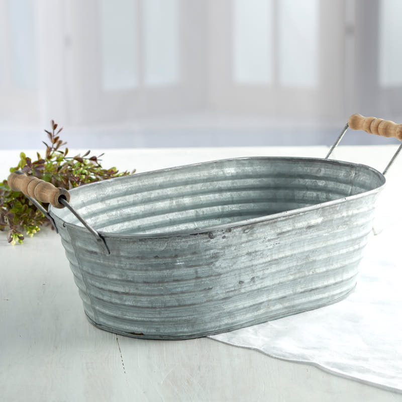 galvanized tin wash tub decorative accents primitive decor