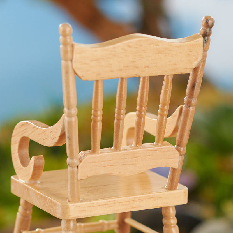 Miniature wood rocking chair nursery miniatures for Small wooden rocking chair for crafts