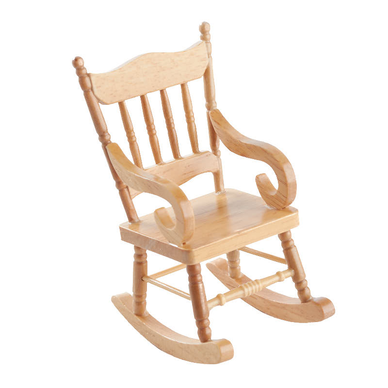 Miniature Wood Rocking Chair - Miniature Furniture - Dollhouse ...