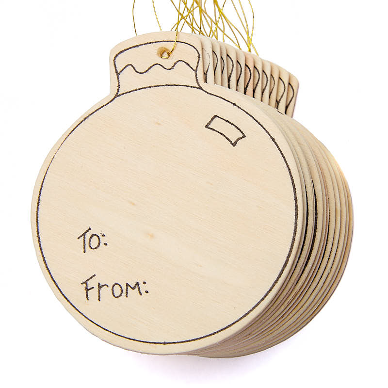 Unfinished Wood Christmas Tag Ornaments