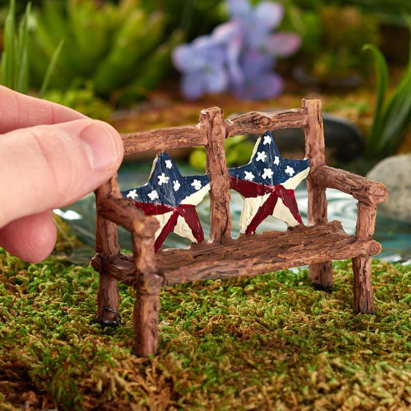 Miniature Patriotic Garden Bench Fairy Garden Supplies