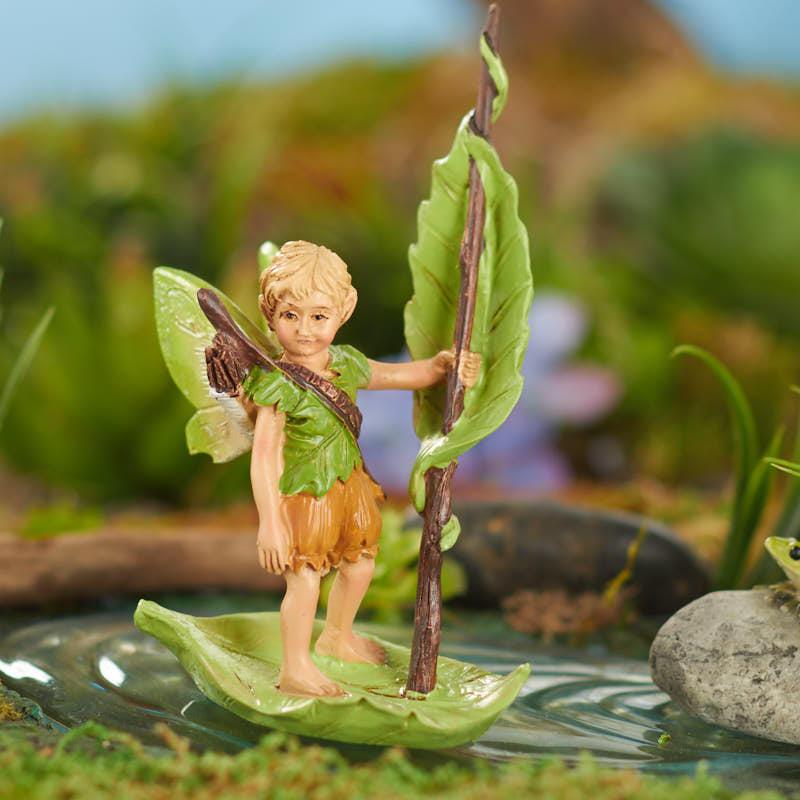 Dollhouse Miniature Fairy Garden River Elf w// Boat Closeout 17574