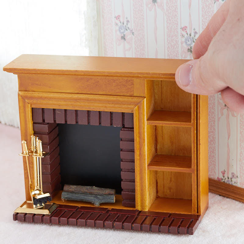 Dollhouse Miniature Roombox Sitting Room: Dollhouse Miniature Fireplace And Accessory Set