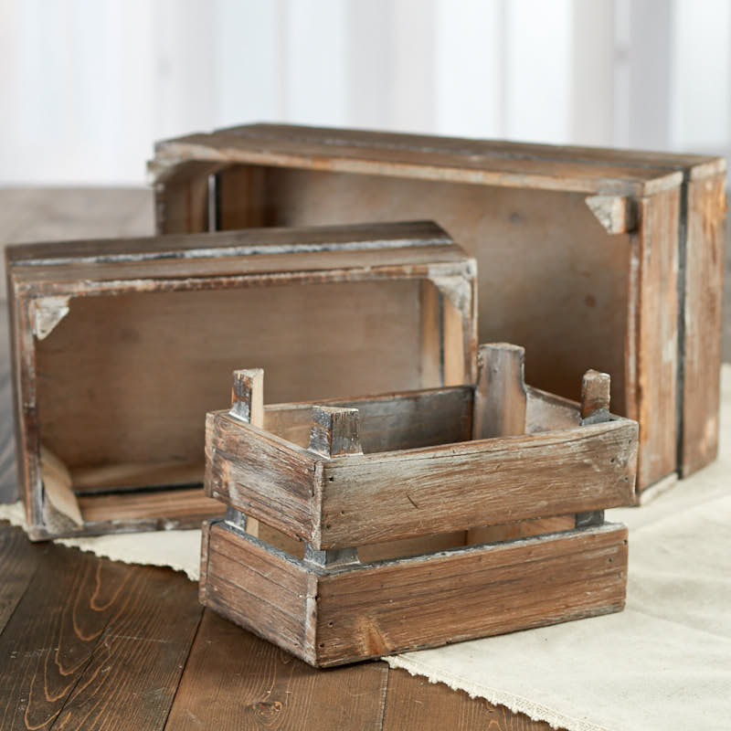 Rustic farmhouse wood crate set decorative accents primitive decor - Decorative wooden crates ...
