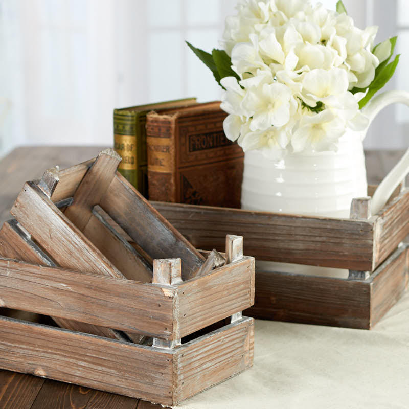 Rustic farmhouse wood crate set decorative containers for Rustic home decor and woodworking
