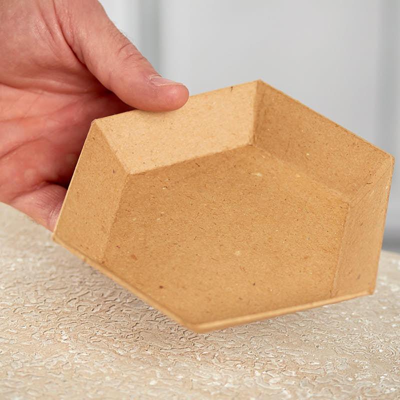 Paper mache hexagon tray paper mache basic craft for Perfect paper mache