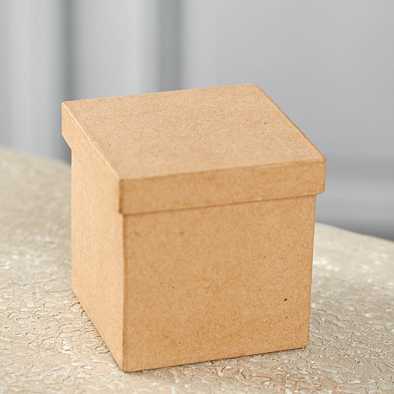 Square paper mache box paper mache basic craft for Craft paper mache boxes