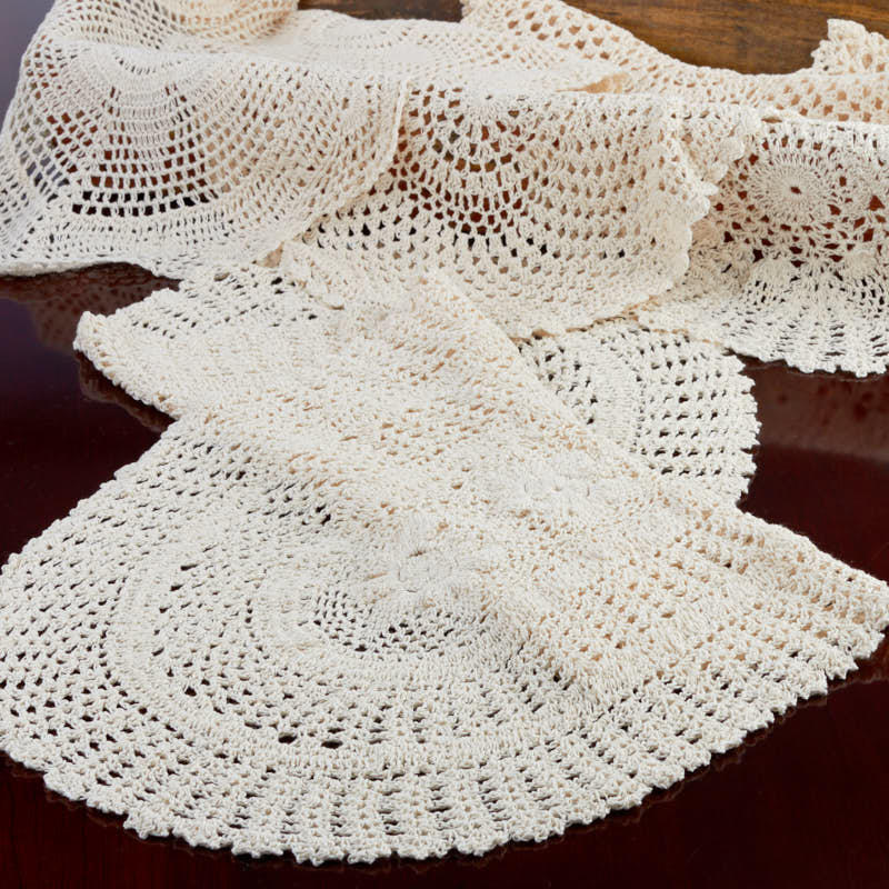 Ecru Oval Crocheted Doily Runner Tableware Party Supplies