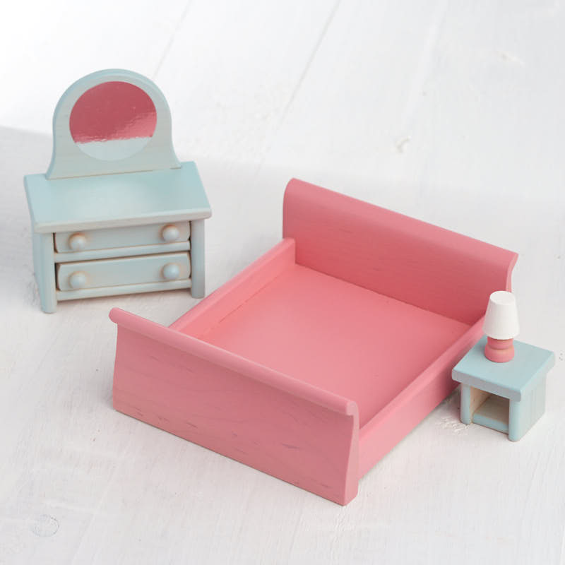 Dollhouse Wooden Bedroom Furniture Set Miniatures Sale Sales