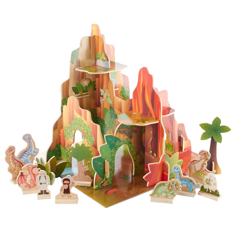 Dinosaurs Mdf Toy Box Childrens Storage Toys Games Books: Multilevel Wooden Dinosaur Playset