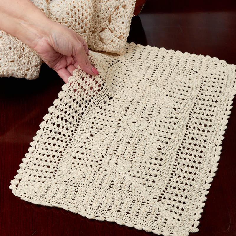 Ecru Crocheted Doily Runner - Crochet and Lace Doilies ...