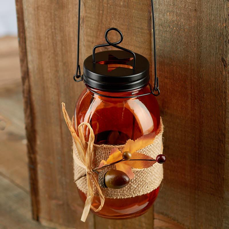 Fall Harvest Mason Jar Tea Light Candle Holder Candles And