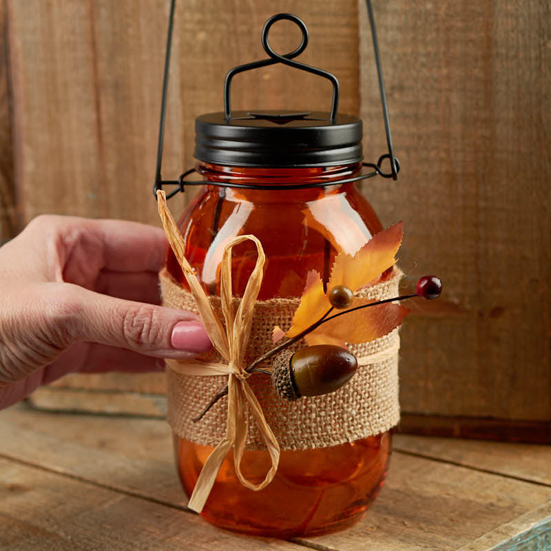 Fall Harvest Mason Jar Tea Light Candle Holder - Candles ...