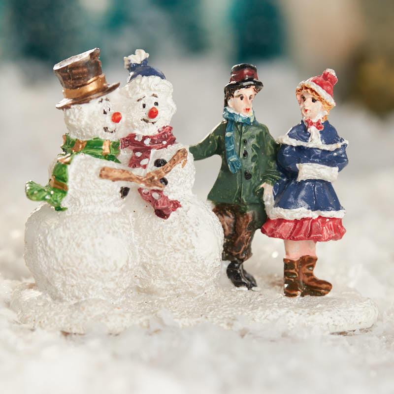 Miniature snowman and children figurine christmas