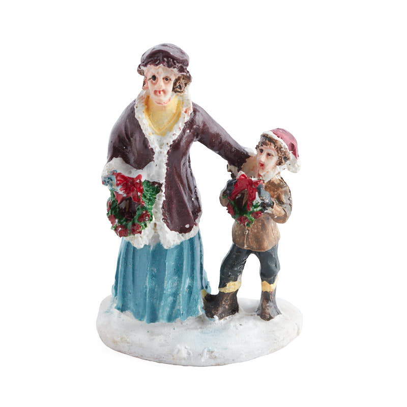 Miniature mother and son figurine christmas miniatures