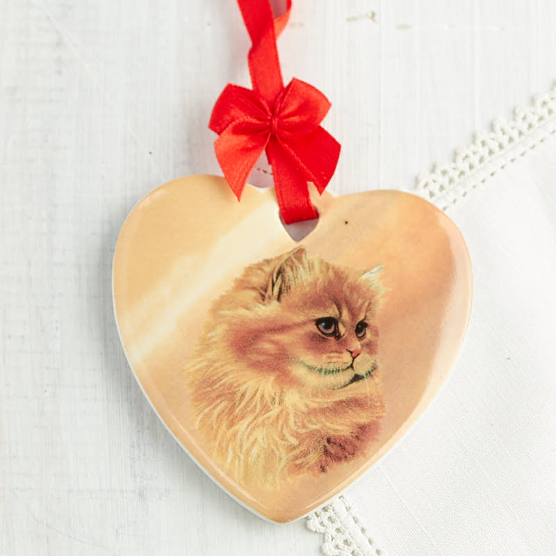 Ceramic cat ornament what 39 s new holiday crafts for Cat christmas ornaments craft