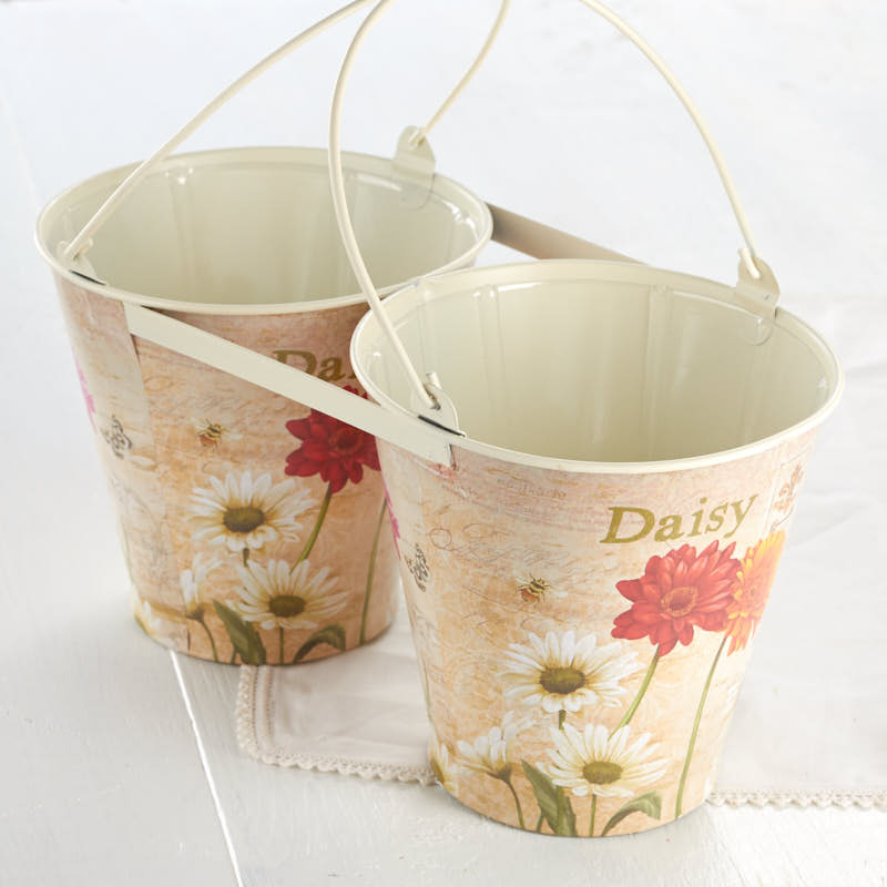 Vintage Inspired Daisy Double French Decoupage Bucket