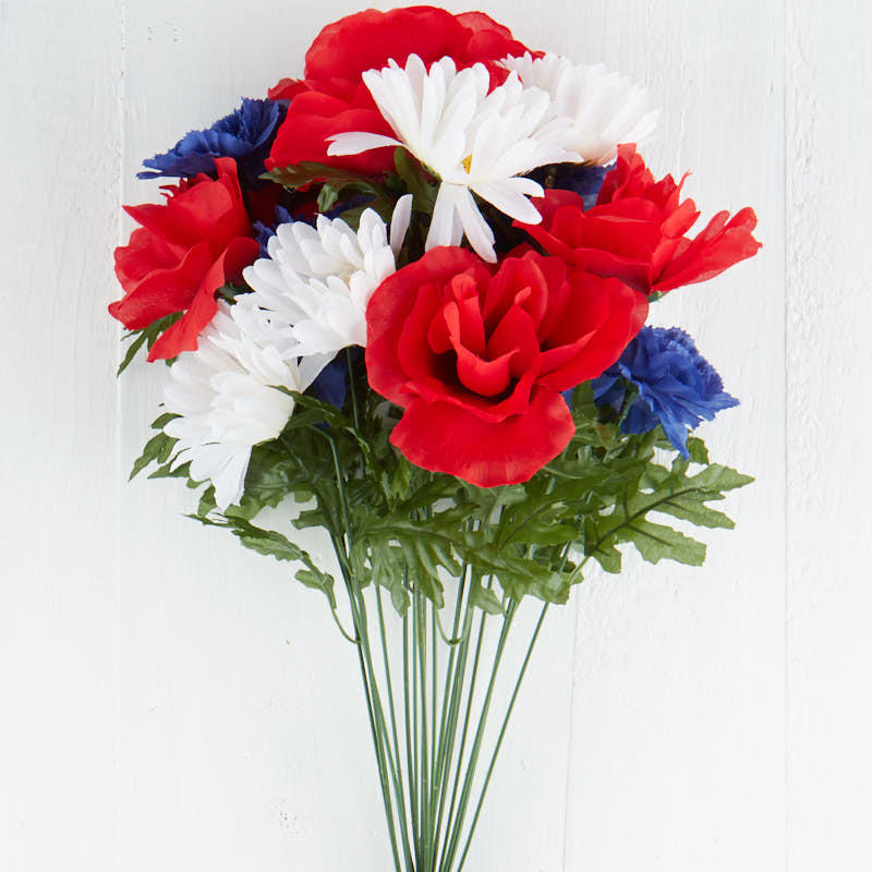 Red, White, and Blue Artificial Floral Bush - Bushes and Bouquets ...