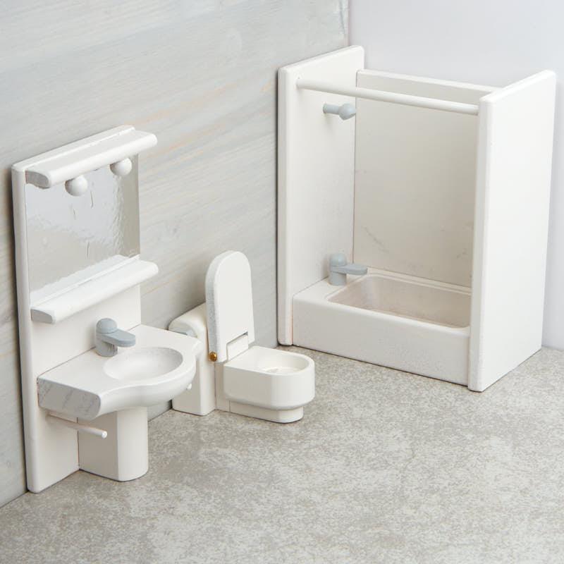 Wooden Dollhouse Bathroom Furniture Set Bathroom Laundry Miniatures Dollhouse Miniatures