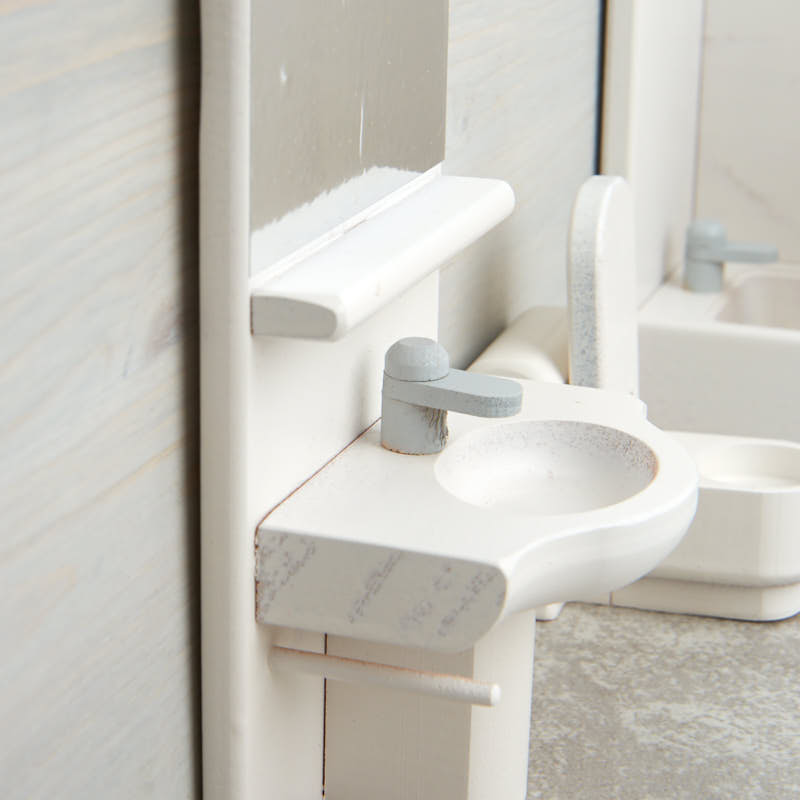 Wooden Dollhouse Bathroom Furniture Bathroom Laundry Miniatures Dollhouse Miniatures