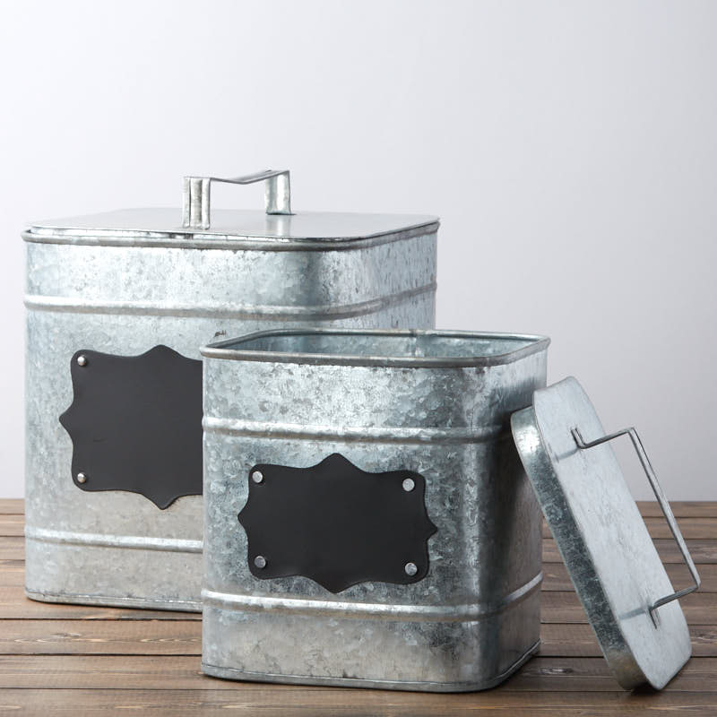 Square Galvanized Canister Set