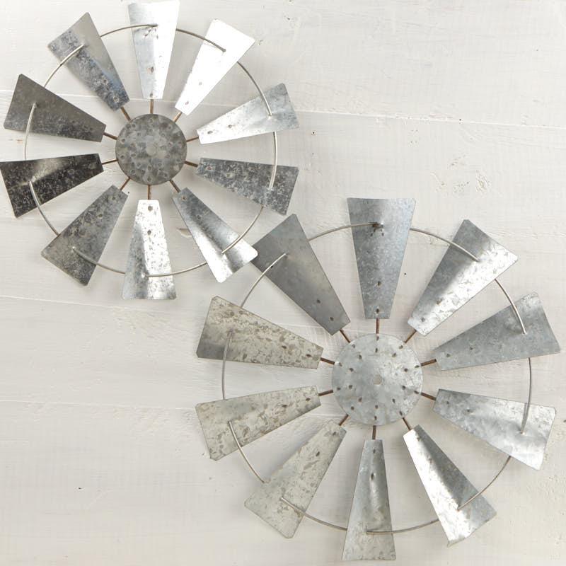 Galvanized Windmill Wall Decor Set - Wall Art - Primitive Decor
