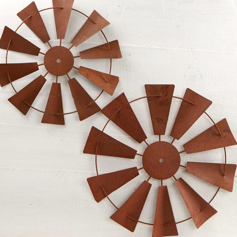 Rusty Tin Windmill Wall Decor Set - Wall Art - Primitive Decor