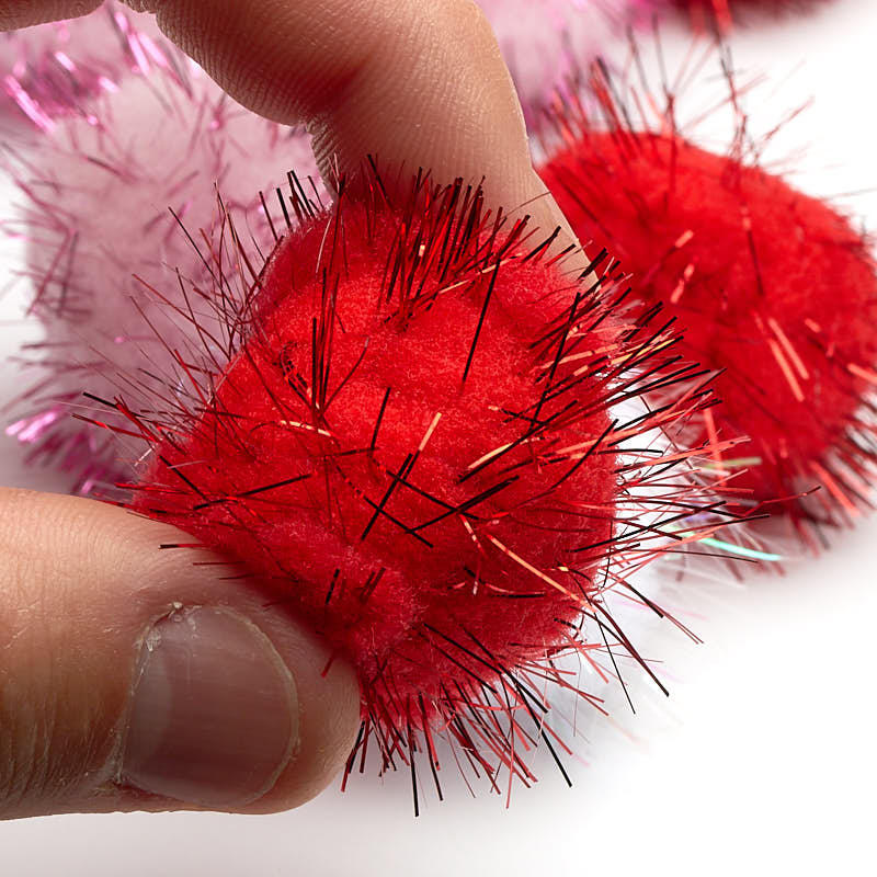Red pink and white tinsel craft pom poms pom poms for Tinsel craft pom poms